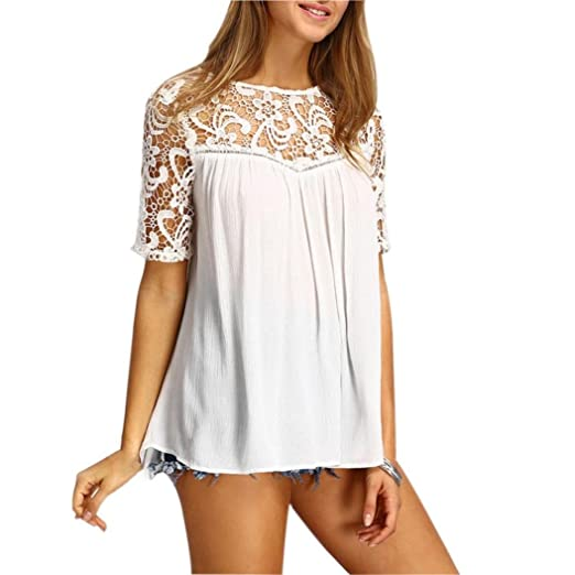 728d2d9138a Image Unavailable. Image not available for. Color  Kangma Women Sexy Elegant  Summer Tops Lace Hollow Solid Short Sleeve T-Shirt Blouse White