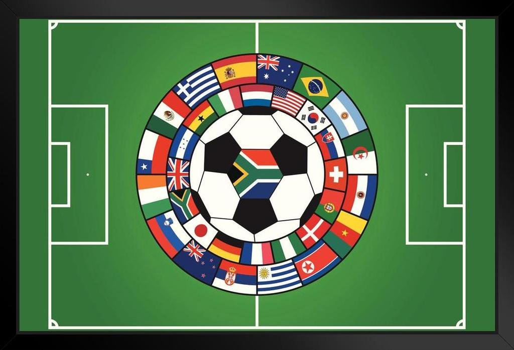 World Soccer Flagsスポーツフレーム入りポスター12 x 18 by proframes 18x12 inches B073RCRZBY Framed Poster 18x12 inches