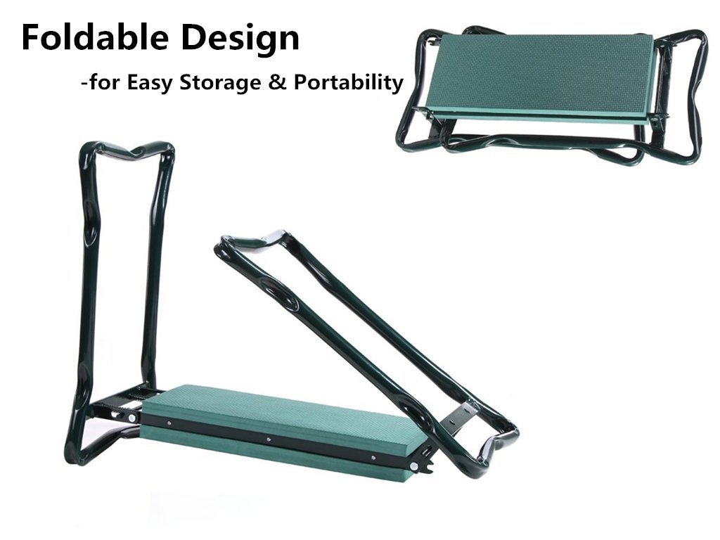 Ohuhu Foldable Garden Kneeler and Seat with Bonus Tool Pouch Verde