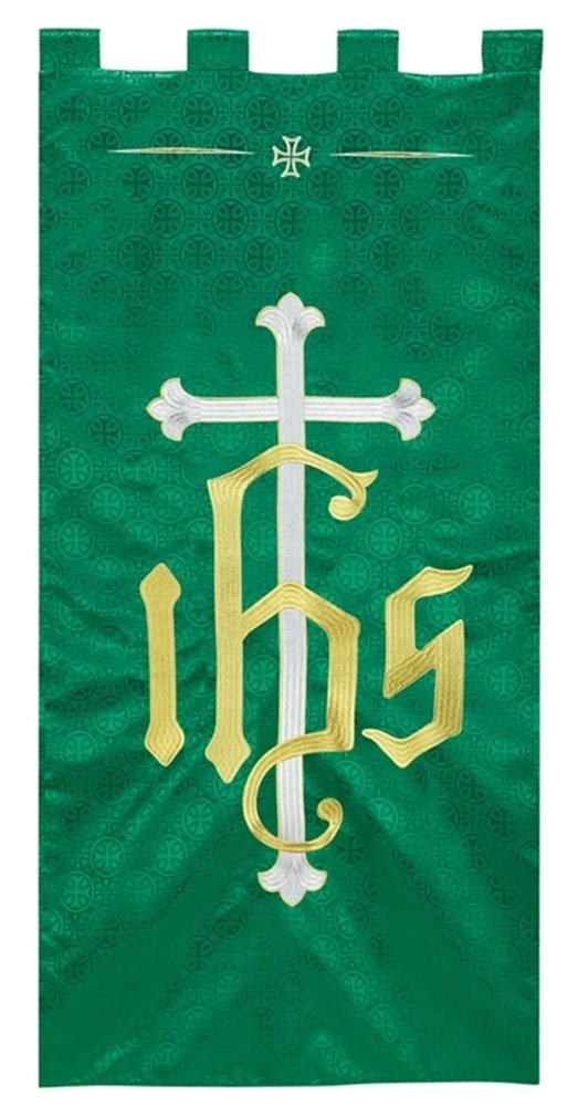 R.J. Toomey Green Polyester IHS Embroidered Banner, 4 Foot