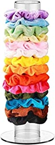 Scrunchie Holder Stand With 10 Pcs Scrunchies Acrylic Hair Tie Organizer Hair Ties Organizer & Friendship Bracelet Holder Velvet Scrunchies or Braided Yarn Bracelets Slides Easy Cute Room Decor for Teen Girls