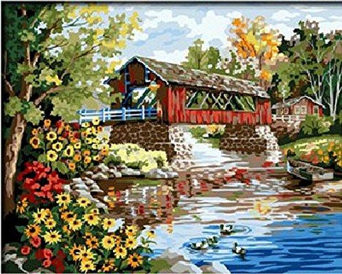 Colour Talk Diy oil painting, paint by number kit- Romantic bridges 1620 inch. by Colour Talk