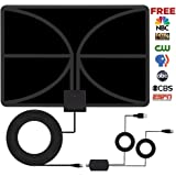 HDTV Antenna, Indoor Amplified TV Antenna 60+ Mile Range with Detachable Amplifier Signal Booster and 13 Feet Thicker Coaxial Cable For 4K 1080P Free TV