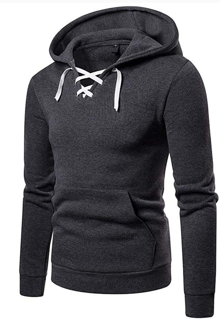 Domple Mens Pullover Pocket Hooded Big /& Tall Lace Up Sweatshirt