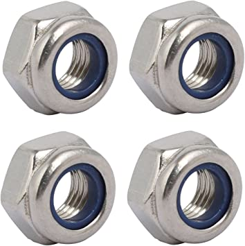 uxcell 4pcs M10 x 1mm Pitch Metric Fine Thread 304 Stainless Steel Hex Lock Nuts