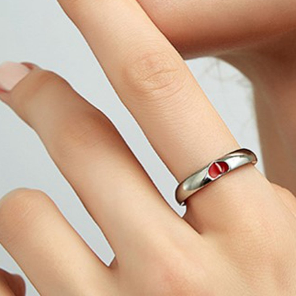 Jude Jewelers 4MM Stainless Steel Heart Ring Wedding Band Statement Anniversary Valentine Promise Silver Red, 7