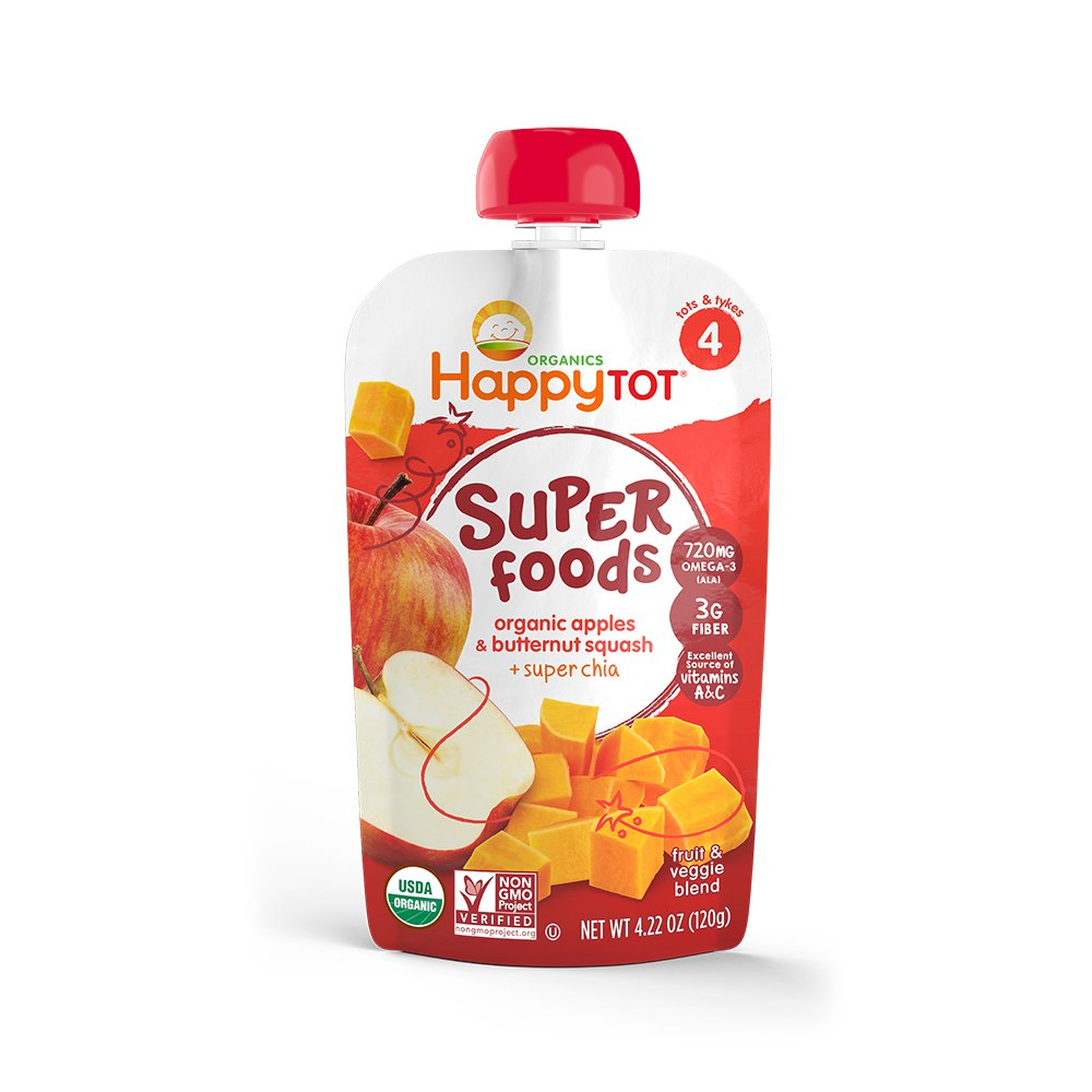 Happy Family Tot Superfoods Stage 4 Organic Toddler Food, Apples & Butternut Squash and Super Chia, 4.22 oz