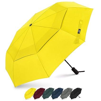 Paraguas de viaje de G4Free, compacto, con cierre seguro, doble toldo, resistente al viento, apertura automática, plegable
