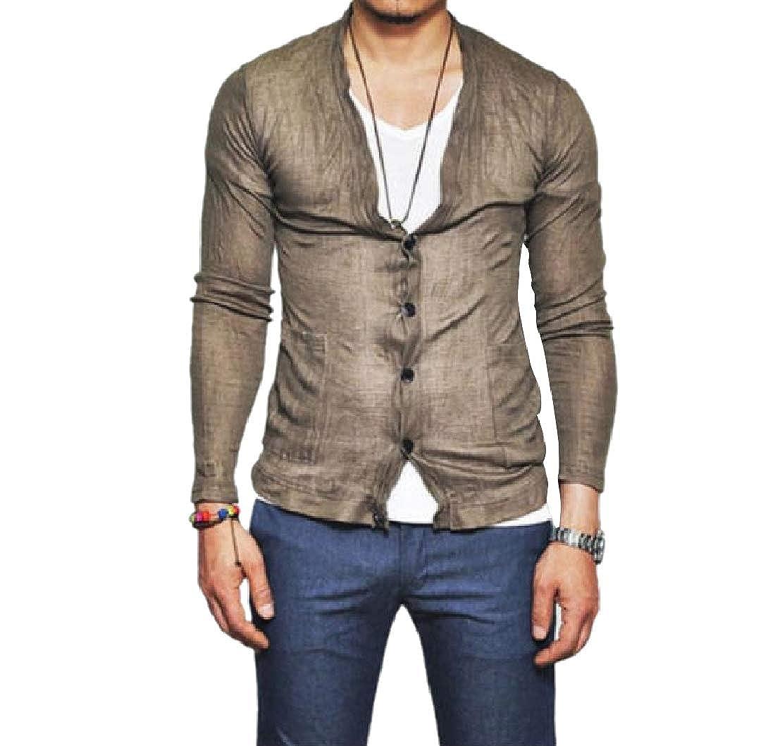 YUNY Men Single Breasted Oversized Long-Sleeve V Neck Dress Shirt Khaki S