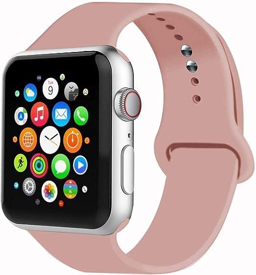 Imagen deVIKATech Correa de Repuesto Compatible con Apple Watch de 40 mm 38 mm, Correa de Silicona Suave de Repuesto para iWatch Series 5/4/3/2/1, S/M, Vintage Rose