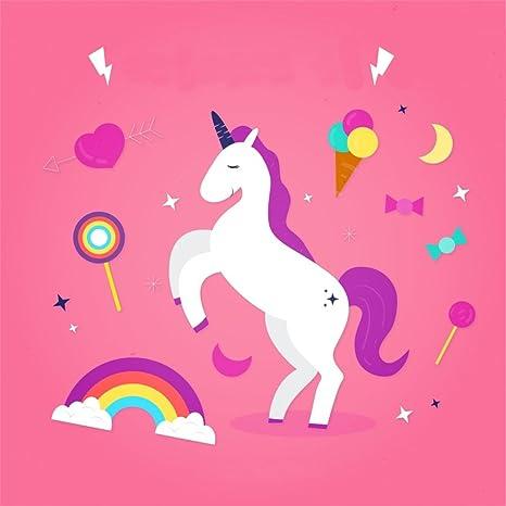 Yongfoto 2x2m Sfondo Fotografico Carino Unicorno Bianco Arcobaleno
