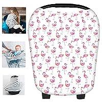 Multi-Use Flamingos Milk Yarn Nursing Breastfeeding Cover Baby Car Set Cover ...