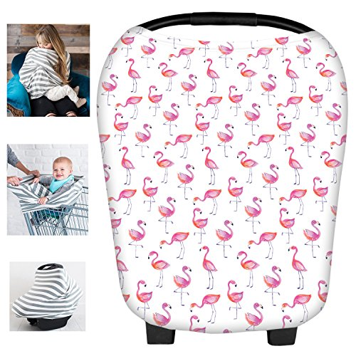 Multi-Use Flamingos Milk Yarn Nursing Breastfeeding Cover Baby Car Set Cover Canopy Shopping Cart Cover Swaddle Blanket for Infants Newborns Toddlers Shower Gift by Busy Mom
