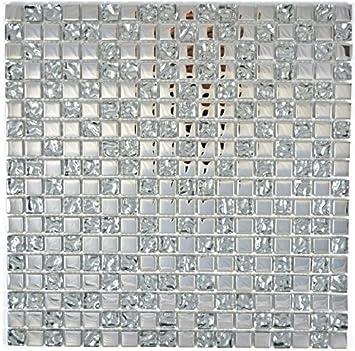 Carrelage mosaïque en verre Couleur crystal EP Argent Verre ...