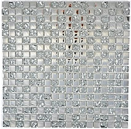Piastrelle a mosaico in vetro trasparente Crystal EP argento vetro ...