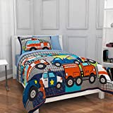 Mainstays Kids Police, Fire and Emergency Cars Heroes at Work Bedding Twin Comforter Set for Boys (4 Piece in a Bag)