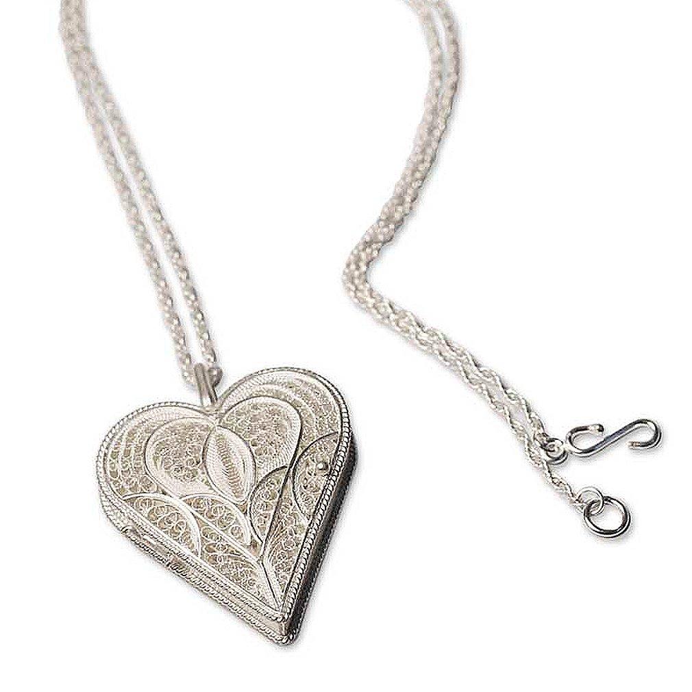 NOVICA .925 Sterling Silver Filigree Necklace, 19.75'', 'Loving Heart'