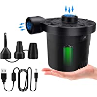 Electric Air Pump for Inflatables, Portable Air Mattress Pump Rechargeable Battery Powered Air Pump with 3 Nozzles for…