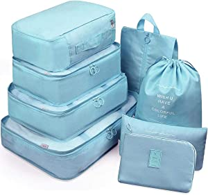 Luggage Organizer, 8 Set Packing Cubes For Travel With Shoe Bag, Electronics Bag, Compression Cells, Accessories Bags Made With Wearable Waterproof Fabric (8 PCS - Lake Blue)