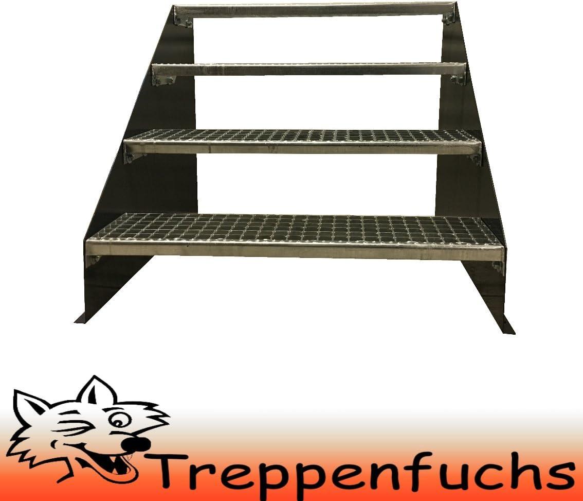 4 Stufen Standtreppe Stahltreppe freistehend Breite 100cm H/öhe 84cm Schwarz// Robuste Au/ßentreppe Stabile Industrietreppe f/ür den Au/ßenbereich