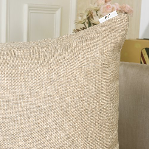 "HOME BRILLIANT Burlap Solid Linen European Throw Pillow Sham Cushion Cover for Bench, 24""x24\"", Light Linen"