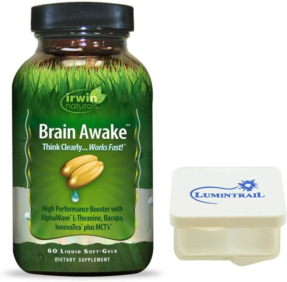 Irwin Naturals Brain Awake, Focus, Energy Booster Supplement with MCT Oil - 60 Liquid Soft-Gels Bundle with a Lumintrail Pill Case