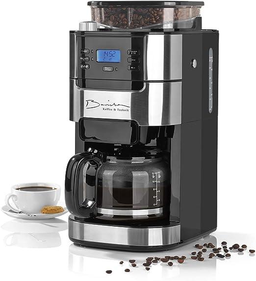 Barista Cafetera de filtro con molinillo | Incluye una jarra de vidrio para hasta 12 tazas de café | Para café en grano y café en polvo [ 1,5 litros / 900 vatios / acero inoxidable ]: Amazon.es: Hogar