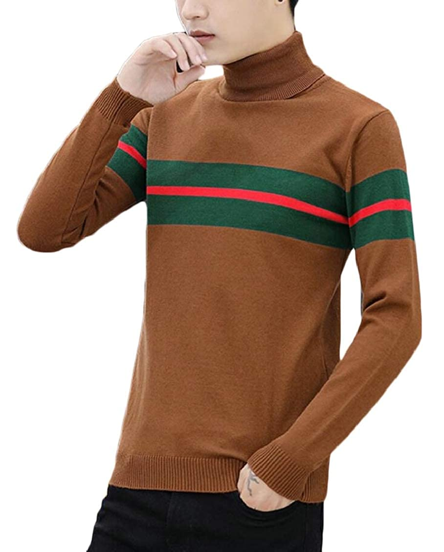 Hokny TD Mens Lightweight Turtleneck Slim Fit Hipster Knitting Pullover Sweaters