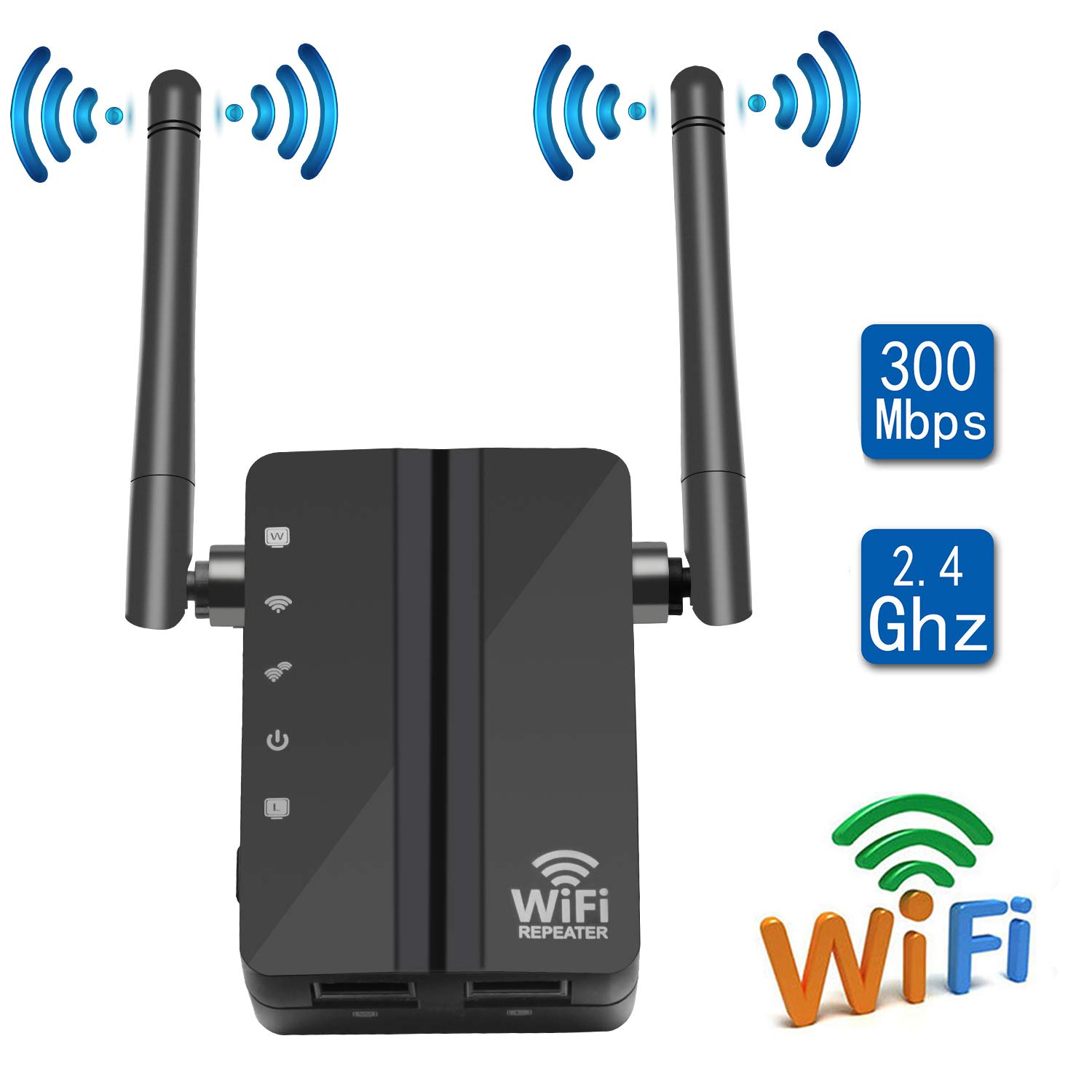 CARANTEE WiFi Range Extender- 300Mbps 1615 sq.ft (40 ft Range) 360 Degree Full Coverage WiFi Repeater, with Dual External Antennas Complies 802.11b/g/n Simple Operation WiFi Extender