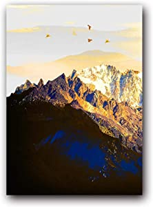 Wall Art ZXYFBH Canvas Painting Golden Abstract Snow Mountain Landscape Map Art Print Poster Picture Wall Nordic Decorative Picture Home Decor 50x70cmNoFrame OT409-1