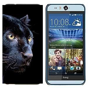 TECHCASE---Cubierta de la caja de protección para la piel dura ** HTC Desire Eye ( M910x ) ** --Puma Negro Piel intenso Naturaleza Animal