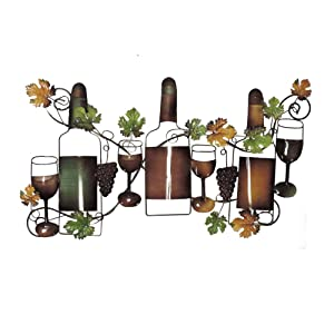 """Deco 79 63546 Traditional Wine and Grapevine Iron Wall Decor, 19"""" x 36"""""""