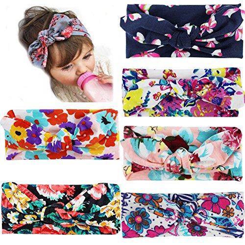 iEFiEL 6pcs Bébés Filles Bandeaux Florales Noued L'oreil Lapin Accessoire Cheveux Enfant Photographie