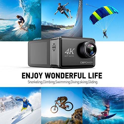 "61%2B7mivGj1L - DBPOWER D5 Native 4K EIS Action Camera 2"" LCD Touchscreen 14MP WiFi Waterproof Sports Camera with 4K 30fps Video and 170° Wide-Angle Lens 2.4GHz Remote Control 2 Pcs Rechargeable Batteries"