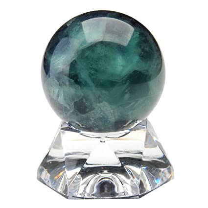 Top Plaza Divination Crystal Ball Sphere Natural Fluorite Gemstone Crystal  Sphere Ball With Acrylic Base 1 2