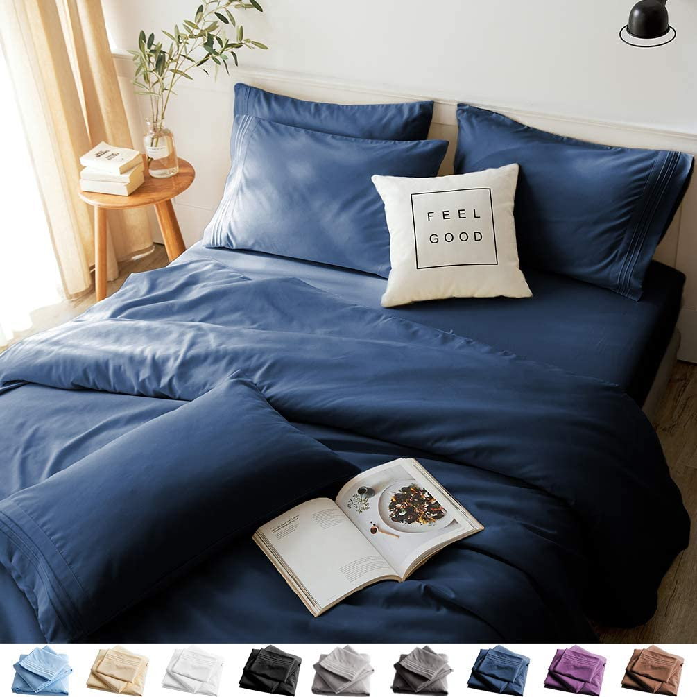 LBRO2M Bed Sheets Set Queen Size 6 Piece 16 Inches Deep Pocket 1800 Thread Count 100% Microfiber Sheet,Bedding Super Soft Hypoallergenic Breathable,Resistant Fade Wrinkle Cool Warm (Navy Blue)