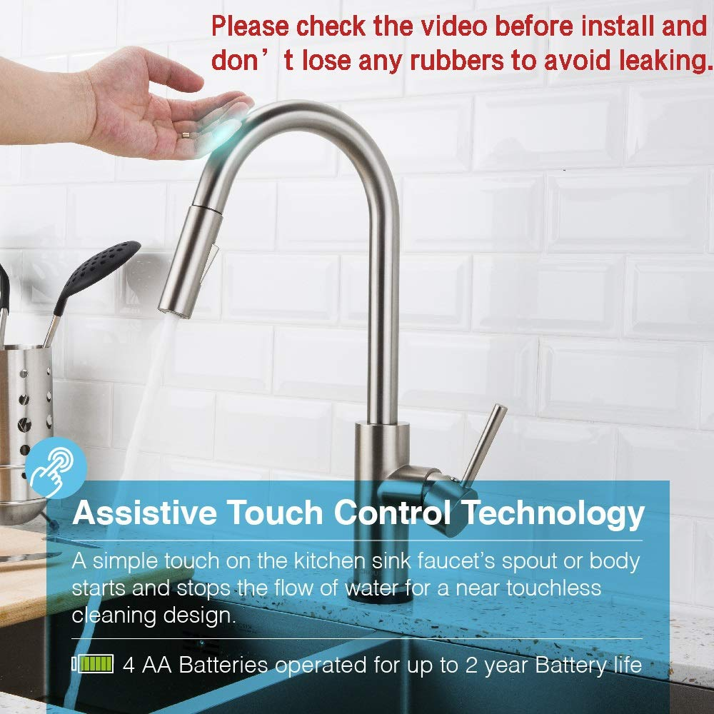 FORIOUS Touch Kitchen Faucets with Pull Down Sprayer, Kitchen Sink Faucet with Pull Out Sprayer, Fingerprint Resistant, Single Hole Deck Mount, Single Handle Copper Kitchen Faucet, Brushed Nickel by FORIOUS (Image #2)