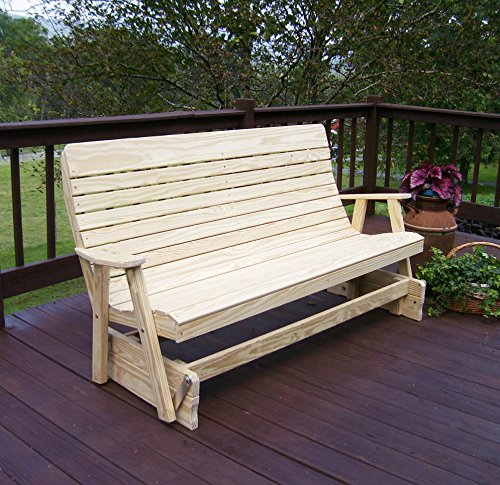 6' PORCH GLIDER Outdoor Patio Bench, 2 Person Highback Wooden Loveseat Outside Benches, Long Lasting Pressure Treated Wood, Amish Made Backyard Furniture Quality - 6 ft, Unfinished Natural ()