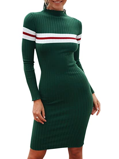 2e34d6733d7 Simplee Women's Casual Turtleneck Pullover Sweater Striped Bodycon Knitted  Dress