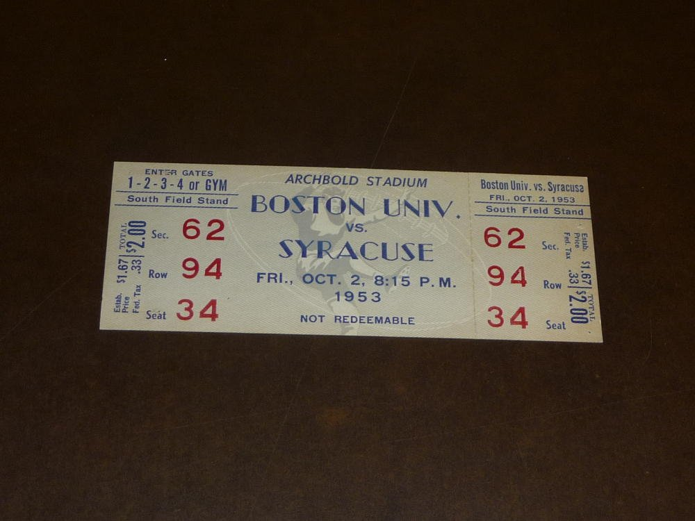 1953 BOSTON UNIVERSITY AT SYRACUSE COLLEGE FOOTBALL FULL TICKET EX MINT
