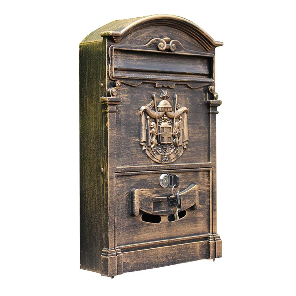 Djyyh 屋外の郵便箱レトロなヴィンテージヨーロッパのアルミニウムの壁は郵便箱の郵便箱をマウントしました安全なレターボックスは郵便箱の外に   B07T3YCVVC