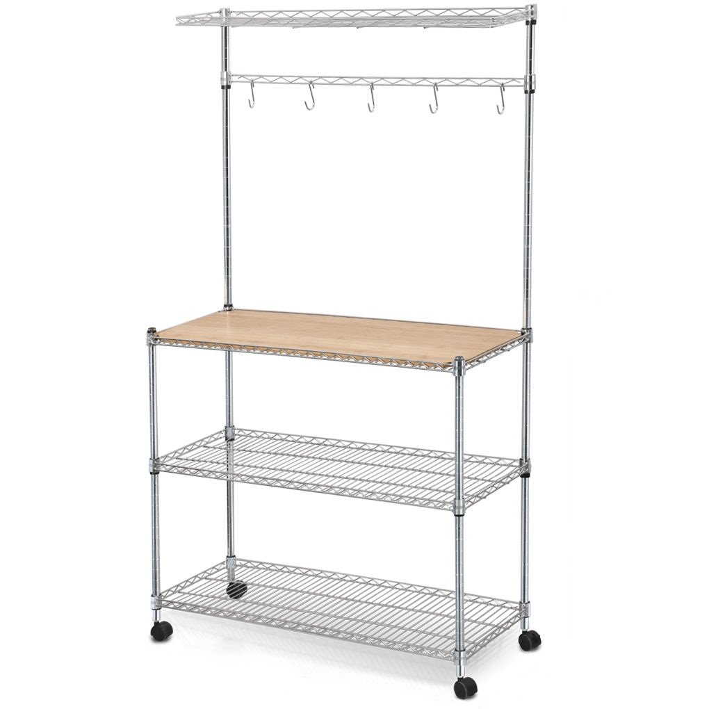 Steel Bakers Rack Cutting Board and Storage Shelves Kitchen Work Station Cart + FREE E - Book