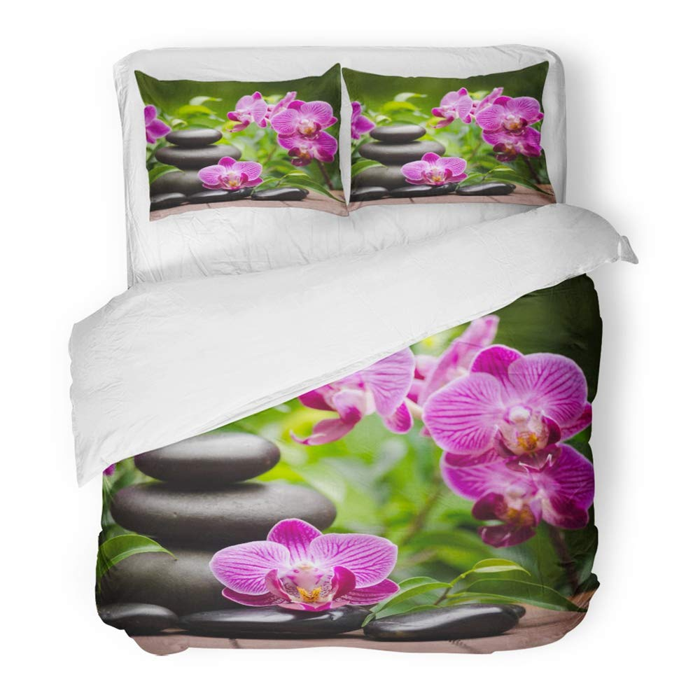 Emvency 3 Piece Duvet Cover Set Brushed Microfiber Fabric Green Bamboo Spa with Zen Basalt Stones and Orchid Pink Towel Alternative Aroma Breathable Bedding Set with 2 Pillow Covers Twin Size