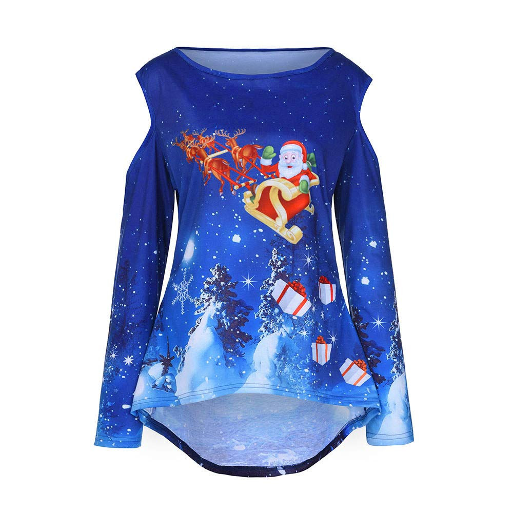 Seaintheson Santa Claus Cold Shoulder Sweater For Women Torch Tunik Blue Black Navy Xl Womens Merry Christmas Pullover Printed Sweatshirt Tops Blouse Clothing