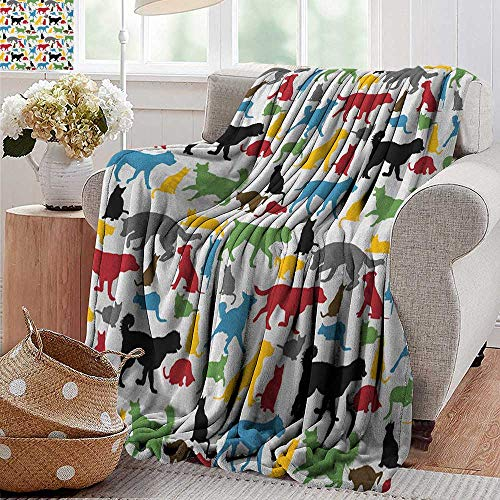 - XavieraDoherty Bed Blanket,Kids,Colorful Cats and Dogs Animal Silhouettes Domestic Pets Cartoon Canine Characters, Multicolor,for Bed & Couch Sofa Easy Care 35