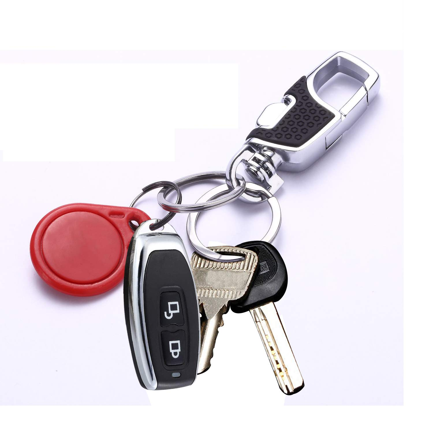 Key Chain Hotetey KeyChain with 2 Key Rings Heavy Duty Key Chain for Men and Women, 2 Pack (Black)