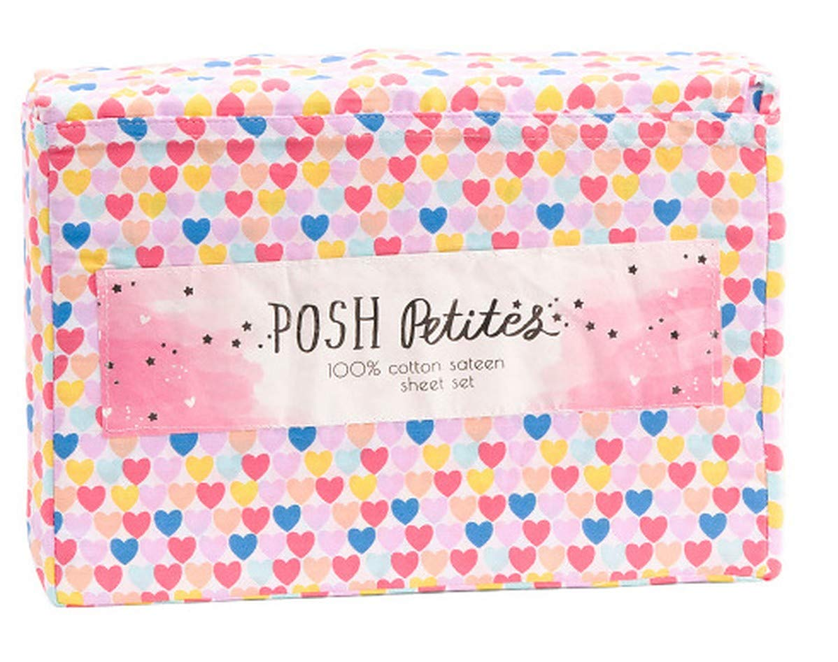 Posh Petites Blue Yellow Pink Heart Sheet Set for Kids on White Twin 100/% Cotton Sateen Multicolor Sheets for Girls Twin or Full Bold Hearts