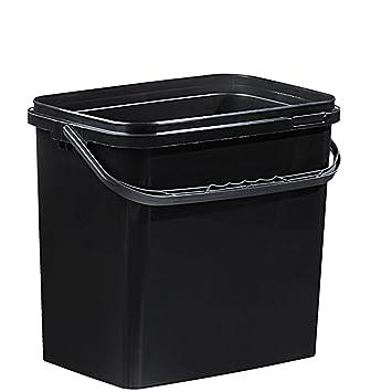 Fabulous Kunststoff Rechteck Eimer 10 Liter schwarz mit Deckel (1Stück ZC73