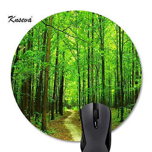 Knseva Beautiful Spring Natural Scene Green Tree Forest Path Landscape Mouse Pad Round Mat Green Colored Pad