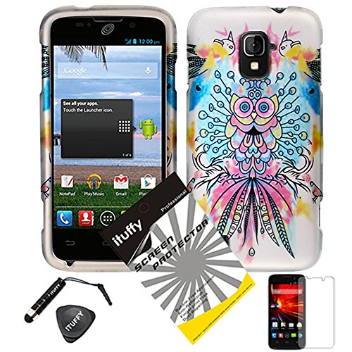 4 items Combo: ITUFFY (TM) LCD Screen Protector Film + Mini Stylus Pen + Case Opener + Pink Yellow Purple Blue Colorful Peacock Owl Design Rubberized Snap on Hard Shell Cover Faceplate Skin Phone Case for ZTE Majesty / Z796c - StraightTalk (Peacock Owl)
